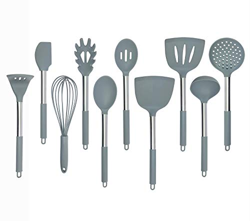 Kitchen Silicone Utensil Set Nylon Core and Stainless Steel Handle Coat with Silicone for Non Stick Cookware Baking Cooking Utensil Tools Set of 10 Grey
