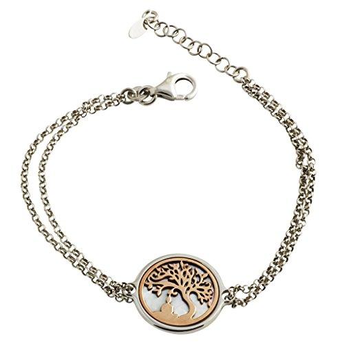 gooix 914-06280 Damen Armband Baum Buddha Sterling-Silber 925 Bicolor Rose Weiß 20,5 cm