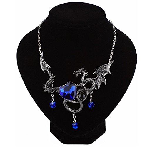5a0c053a6559f6 Xshuai Punk Antique Silver Dragon antiguo Saphire con forma de corazón para  el día de la