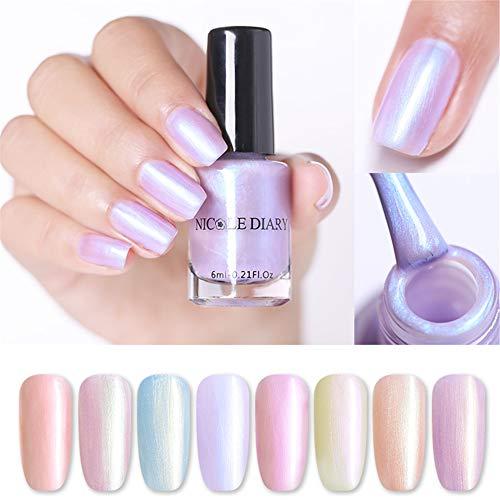 NICOLE DIARY Peelable Nagellack Rainbow Perle auf Wasserbasis Nail Art Lack Glitter Shimmer Color...