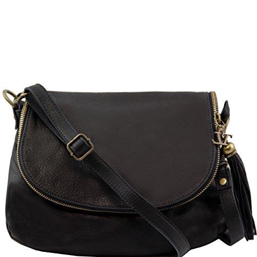 Leather Besace Pompon Bag Cuir Tl En Avec Sac Bandoulière Tuscany Souple QdtshrC