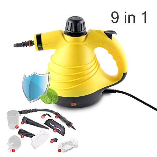 LXIANGP Dampfreiniger Handheld Home Multifunktions-Hochtemperatur-Hochdruckreiniger Küche Wohnzimmer Schlafzimmer Reinigung Dekontamination 5-teiliges Set High Power 900W-Gelb