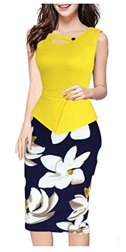 HOMEYEE Robe Élégant Moulante Floral Sans Manches B288 Jaune