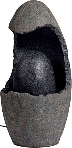 dobar Großer Design Garten-Brunnen mit Pumpe und LED´s, Polyresin, grau-schwarz, 37 x 37 x 73 cm, 96100e