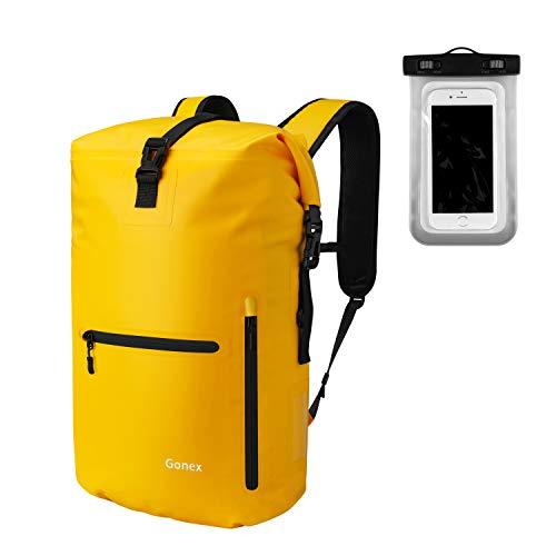 Gonex Wasserdichter Rucksack 30L, mit Laptophülle + Handytasche, Dry Bag Wasserdichter Packsack, Gelb