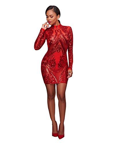 MASHIKOU Damen Schiere Mesh Vollhülse Bodycon Minikleid Paillettenkleid Partykleid Kurz Cocktailkleid Minikleid Der Partei (Rot, L) - 2