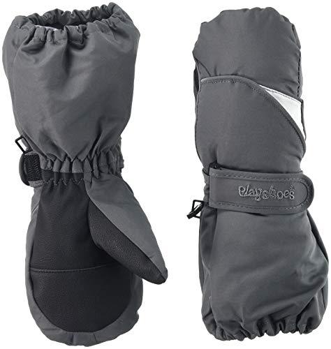 Playshoes Kinder Fäustlinge mit Thinsulate-Technik und langem Schaft warme Winter-Handschuhe mit Klettverschluss, grau, 3
