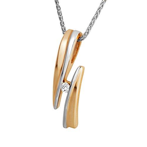 Diamond Line Diamond Line Damen - Halskette 375er Gold 1 Diamant ca. 0,05 ct.