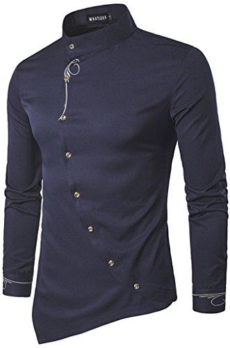 Whatlees Herren urban basic lang geschnittenes Hemd mit asymmetrisches und aufgesticktes Design...