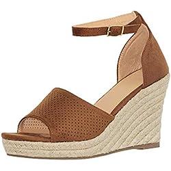 Cuñas para Mujer Sandalias Hebilla Zapatos de Tacón Boca de Pescado Grueso Alto Zapatillas de Suela Gruesa Mocasines Verano 2019 (35, Marrón)