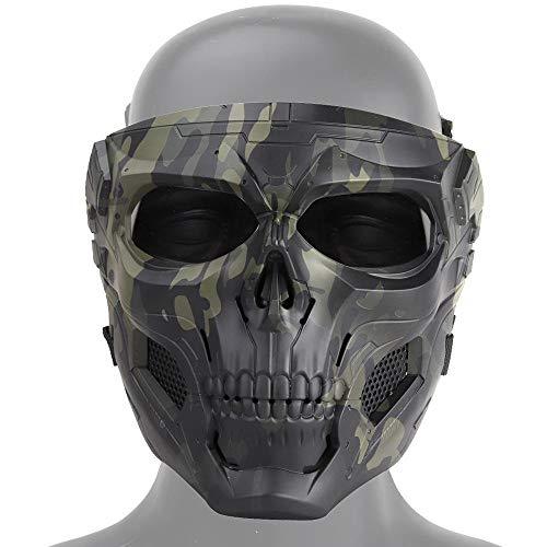 MOGOI Airsoft Crâne Masque, Plein Visage Masques De Protection pour Airsoft Paintball CS Extérieur Jeu De Guerre BB Gun Halloween Partie Cosplay Masque Props De Cinéma