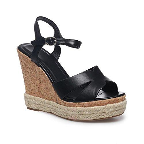 La Modeuse Sandales Compensées Femme en Simili Cuir Noir