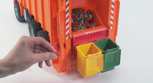 Image of Bruder 02762 MAN TGA Rear Loading Garbage Truck (Orange) 1:16th Scale