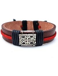 Agathe Creation , Bracelet tibetain porte bonheur , Cuir et chanvre , perle  metal , Marron