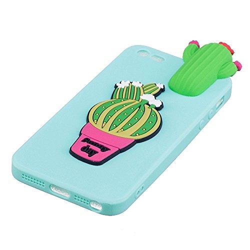 iPhone 5S / SE Hülle, BENKER Hochwertigem Neu Kreativ 3D Karikatur Durable TPU Silikon Kratzfeste Stoßfest Rutschfeste Handyhülle - Kaktus Kaktus