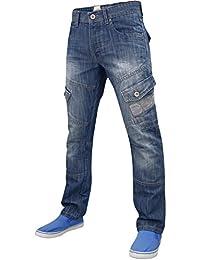 Hommes concepteur nouvelles hachures : sablage Denim braguette à boutons Regular Fit Jeans Cargo
