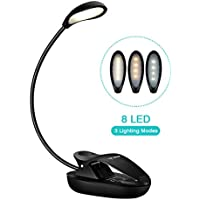 Topelek 8 LED Reading 3 Lighting Colors and Stepless Brightness Control, Micro USB Rechargeable, 360° Flexible Neck, Clip On Music Stand, Book, Cabinet, Portable for a Trip,Home[Energy Class A+] Black
