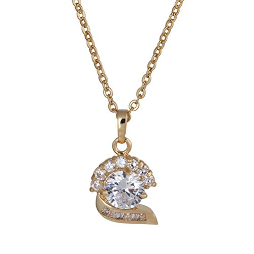 FENICAL Women Necklace Micro-inclosed Charming Fox Shape Zincons Delicate Hollow out Necklace (Golden)