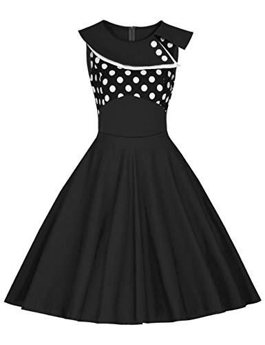Là Vestmon Damen Retro Swing Cocktailkleid Schwingen Rockabilly Kleid Faltenrock Abendkleider Partykleid Sommerkleid Polka Dot Schwarz Weiße Punkte Ärmellos