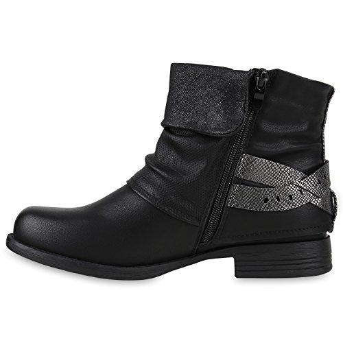 Damen Biker Boots Nieten Schnallen Stiefeletten Rockig Gr. 36-42 Schwarz