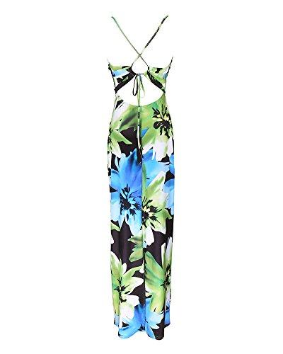 Damen Maxikleid Strandkleid Trägerkleid Bügel kleid Lang Neckholder Partykleid Langes Abendkleid Mit Blumendruck Grün