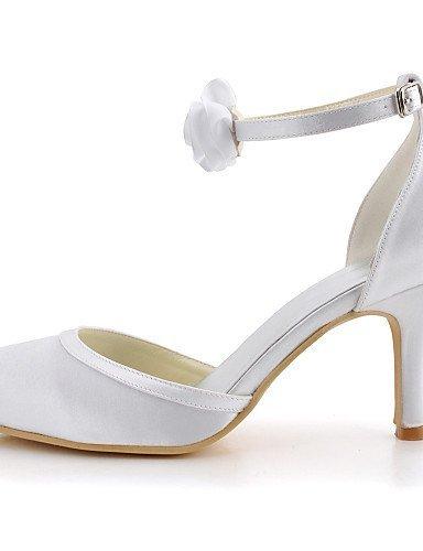 ShangYi Schuh Damenschuhe runde Kappe Pfennigabsatz Satin Pumps mit Schnalle Schuhe mehr Farben erhältlich White