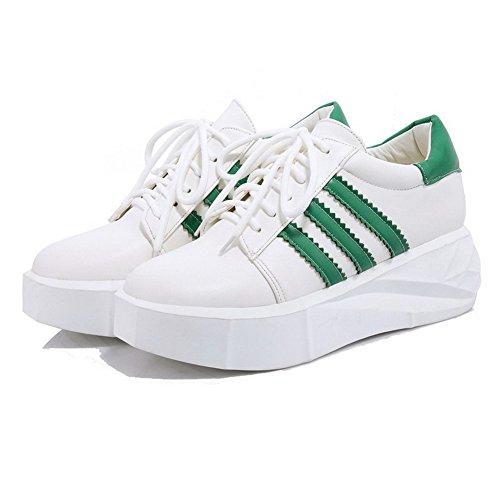 Bombas De Senhoras Misturada Pu Calcanhar Meados Couro Cor Laço Verdes Allhqfashion Sapatos Rodada Toe 44r6Z