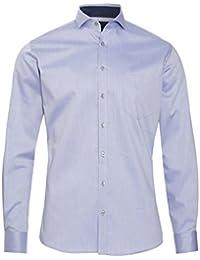 Pure Fashion Fit Hemd Langarm Haifischkragen mit Patch Muster Hellblau