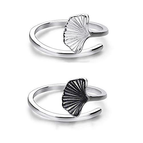 Daimay 2PCS Ginkgo Blatt offener Ring Kreative Einfachheit Ringe Frau Mode Ginkgo Biloba Blatt Ring Einstellbare Größe - Schwarz und Silber -