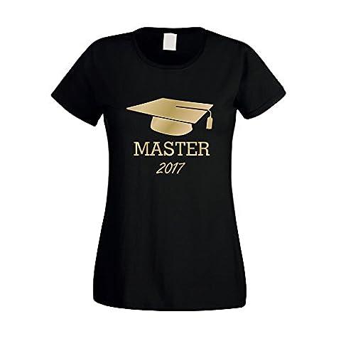 Damen T-Shirt Abschluss Master 2017 - von SHIRT DEPARTMENT, M, schwarz-gold