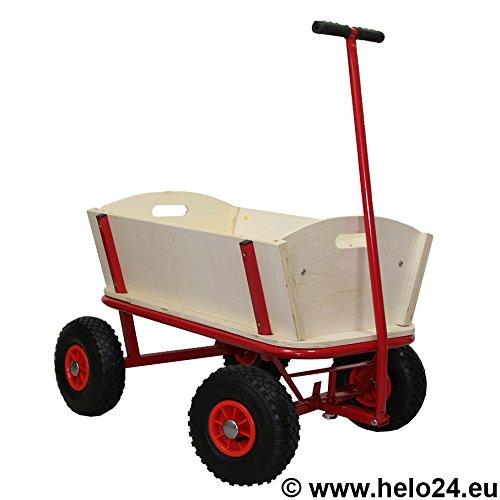 HELO Bollerwagen mit 150 Kg Tragkraft aus extrem fester Stahlrohrkonstruktion pulverbeschichtet, verstärkte Ablagefläche, 4 Luftreifen, Ohne Plane