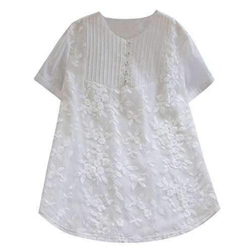 ESAILQ Frau LäSsige Lose Feste Oansatz Shirt Kurzarm Baumwolle Stickerei Top(XX-Large,Weiß) -