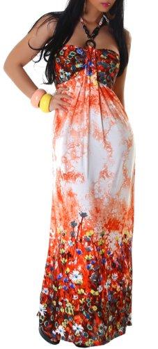 GRAFFITH - Robe - Dos nu - À fleurs - Sans manche - Femme Orange - Orange