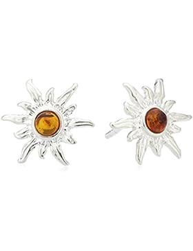InCollections Damen-Ohrstecker Sonne 925 Sterling Silber 2 Bernsteine gelb 13 mm 0010260010890