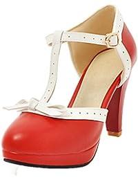 Coolulu Damen High Heels T-Strap Schnallen Sandalen Blockabsatz Schuhe mit  Schleife 9cm Absatz 944bcd6aaf