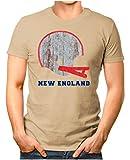 OM3® - New-England-Helm - T-Shirt | Herren | American Football Shirt | S, Khaki