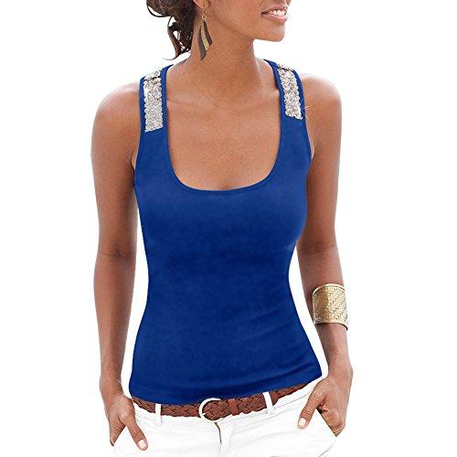 Mangotree Damen Workout Tank-Tops Ärmellos Paillette Spleißen Unterhemd Bluse Fitness Yoga Burnout Racerback Vest Tops T Shirt (Burnout-unterhemden)