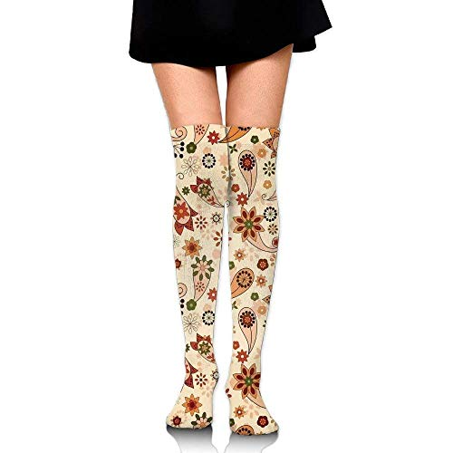 OQUYCZ Woman's Floral Design Print with Spring Motifs and Oriental Ethnic Design Home Decor Warm High Boot Socks