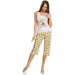 """oodji Ultra Mujer Pijama con Pantalones y Estampado """"Gato"""", Blanco, ES 42 / L"""