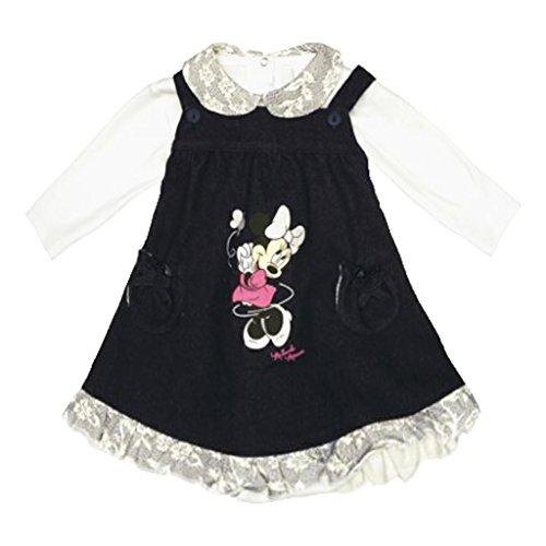 Baby-Kleid Mädchen Minnie Mouse in GRÖSSE 62, 68, 74, 80, 86, Latz-Jeanskleid mit Lang-Arm Body in weiss, ideal als Sommer-Kleid, Strand-Kleid oder Freizeit-Kleid, Jeans Size (Baby Kostüme Mouse Kleinkind Minnie)