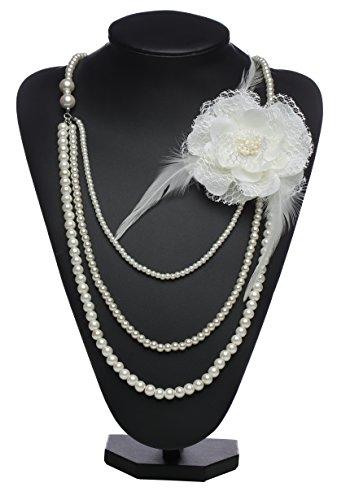 Girl Gatsby Kleid (Babeyond Damen Kette Vintage 1920er Gatsby Multi-Layer Imitation Perle Choker Damen Halskette mit Spitze Blume Brosche (Beige)