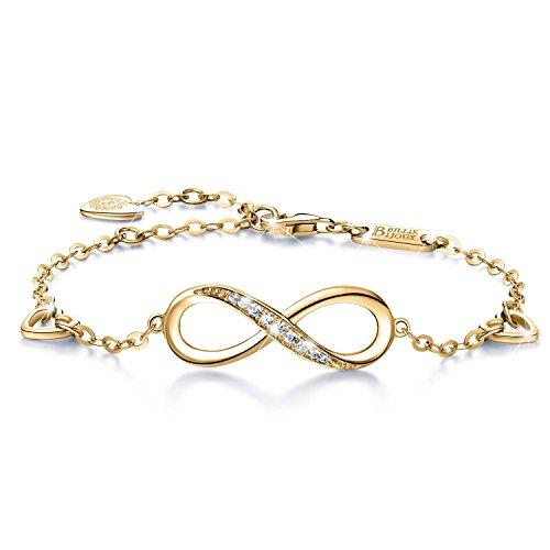 Billie Bijoux Infinity Unendlichkeit Symbol Damen Armband 925 Sterling Silber Zirkonia Armkette Verstellbar Charm Armband (5- gold)