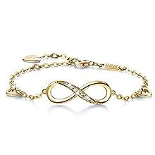 Billie Bijoux Womens 925 sterling Silver Infinity Endless Love Symbol Charm Adjustable Bracelet Mother's Day (5-gold)