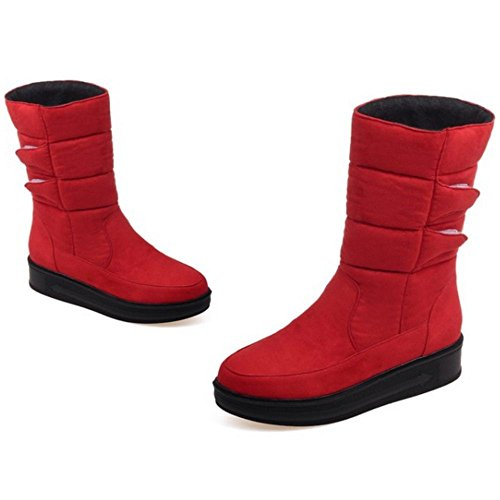 TAOFFEN Damen Winter Warm Halbschaft Stiefel Flache Snow Boots Rot