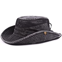 Gorra de pescador veraniega de algodón bordado para hombre visera sombrero de malla tapasol para al aire libre, negro, talla única