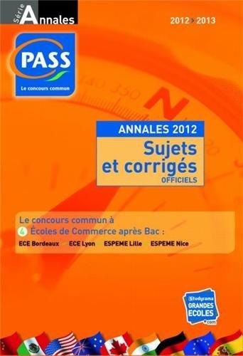 Concours pass : Annales du concours 2012...