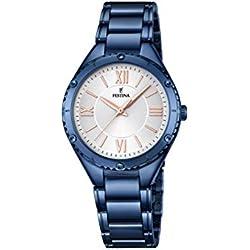 Festina F16923_1 - Reloj Analógico Para Mujer, color Gris/Azul