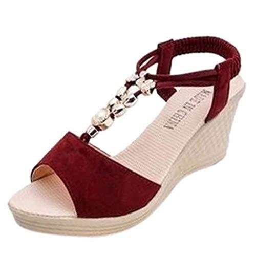 Czcrw Komfortable Damen Sandalen Sommer Schuhe Damen Sandalen Damenmode Wedges String Bead Casual Römersandalen Schuhe Street Style rutschfeste Hausschuhe Sandalen (Color : Rot, Größe : 37 EU)