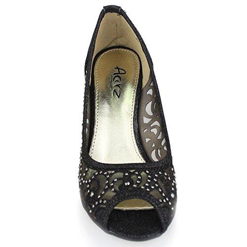 Aarz Femmes Mesdames Soirée de soirée de mariage Prom talon haut Peep Toe Diamante Sandal Chaussures Taille (Or, Argent, Champagne, Noir, Marron) Noir