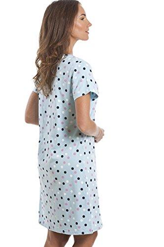 Chemise de nuit avec motif à pois - coton - bleu clair/multicolore Bleu